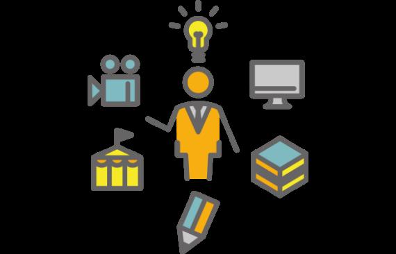 ビデオカメラ、ペン、用紙、モニターなどの中心に人を配置したイメージイラストで業務の一元化で効率化をを訴求