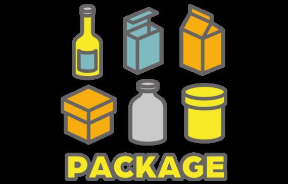 新商品開発、ブランド開発のサービスメニューのご案内としてボトル、パック、箱など様々な容器のイメージイラストを表示