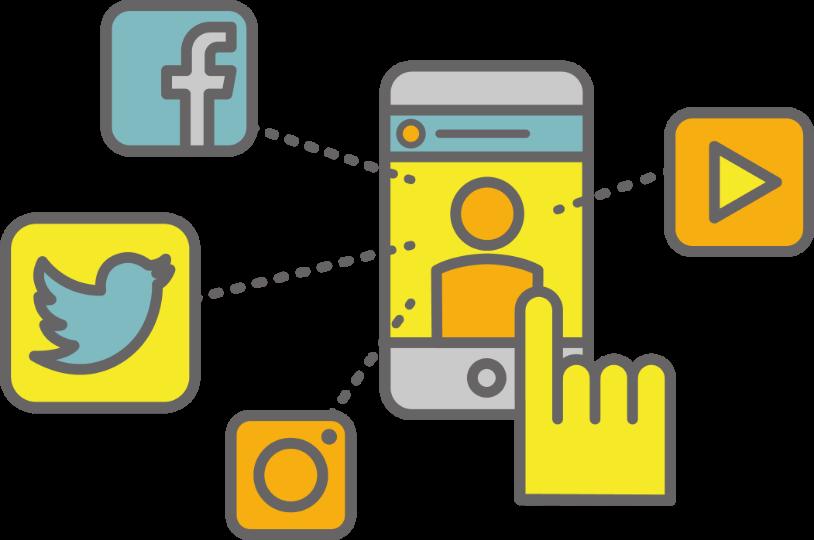 スマートフォンのインターファイスで、SNSアプリのアイコンを右手の人差し指で操作しているイメージイラスト