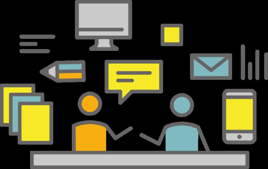お客様と制作者と周囲には、デバイス、メール、データファイルなど配置したイラスト。ユーザー目線に立って考えられるデザイン思考で一緒に考え、最適なユーザー体験の解決方法を導くイメージ