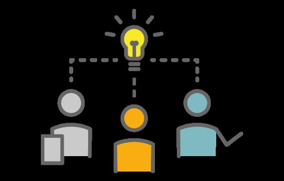 コンセプトから一緒に考えて欲しいご要望にも応える、3人が考えてアイデアがひらめくイメージのイラスト。