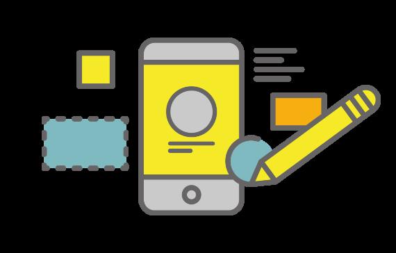スマートフォン、タッチペンなどでのサービスを活用しているイメージイラスト