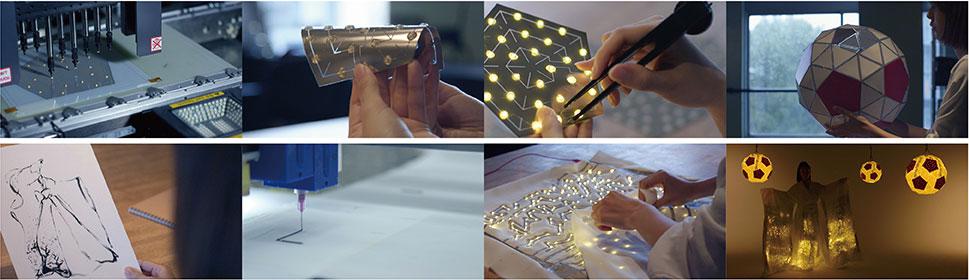 テキスタイルに直接LEDチップを配した回路に電気を流し商品特長の優れた技術を表した写真。