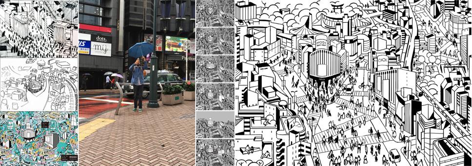 ロケーションハンティングを行い、渋谷公園通りの街並みを何度も描いたイラストラフスケッチ。