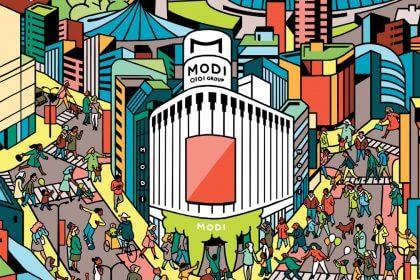 「渋谷モディ」が街と一体的に表現され、 カラフルで賑やかな広告を制作。